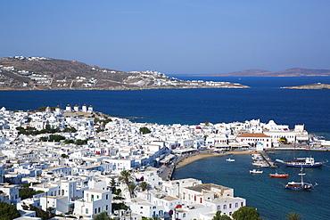 Mykonos Town and Harbor, Mykonos Island, Cyclades Group, Greek Islands, Greece, Europe