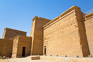 The First Pylon, Temple of Isis, UNESCO World Heritage Site, Philae Island, Aswan, Nubia, Egypt, North Africa, Africa
