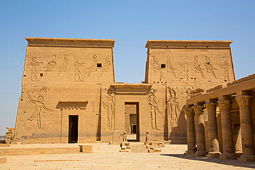 East Colonnade (right), The First Pylon, Temple of Isis, UNESCO World Heritage Site, Philae Island, Aswan, Nubia, Egypt, North Africa, Africa