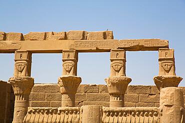 Goddess Hathor Columns, Vestibule of Nectanebo, Temple of Isis, UNESCO World Heritage Site, Philae Island, Aswan, Nubia, Egypt, North Africa, Africa