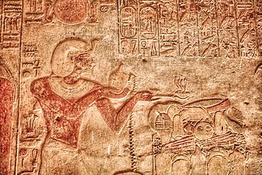 Ramses II, Bas Relief, Beit al-Wali Temple, Kalabsha, UNESCO World Heritage Site, near Aswan, Nubia, Egypt, North Africa, Africa