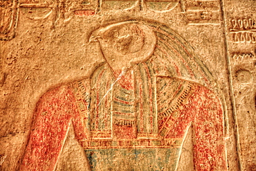 The God Horus, Bas Relief, Beit al-Wali Temple, Kalabsha, UNESCO World Heritage Site, near Aswan, Nubia, Egypt, North Africa, Africa