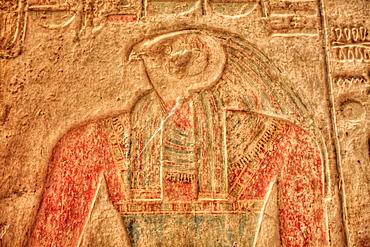 The God Horus, Bas Relief, Beit al-Wali Temple, Kalabsha, UNESCO World Heritage Site, near Aswan, Nubia, Egypt, North Africa, Africa