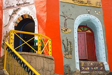 Painted Buildings, Nagaa Suhayi Gharb, Nubian Village, Aswan, Egypt, North Africa, Africa