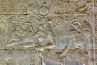 Bas Reliefs, Sanctuary of Horus, Temple of Horus, Edfu, Egypt, North Africa, Africa