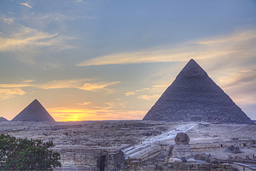 Sunset, Great Pyramids of Giza, UNESCO World Heritage Site, Giza, Egypt, North Africa, Africa