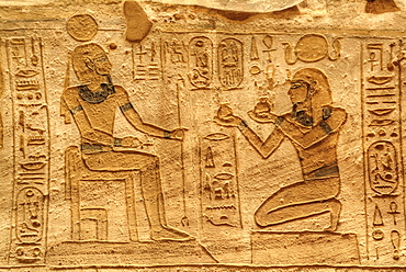 Ramses II on the right, Sunken Relief, Lateral Chamber, Ramses II Temple, UNESCO World Heritage Site, Abu Simbel, Nubia, Egypt, North Africa, Africa