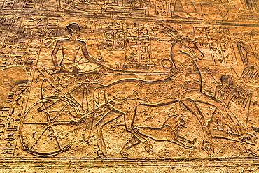 Ramses II in Chariot, Sunken Relief, Hypostyle Hall, Ramses II Temple, UNESCO World Heritage Site, Abu Simbel, Nubia, Egypt, North Africa, Africa