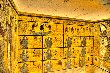 Baboons, West Wall Mural, Tomb of Tutankhamun, KV62, Valley of the Kings, UNESCO World Heritage Site, Luxor, Thebes, Egypt, North Africa, Africa