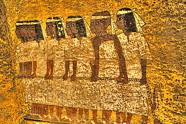 Mural of Mourners, Tomb of Tutankhamun, KV62, Valley of the Kings, UNESCO World Heritage Site, Luxor, Thebes, Egypt, North Africa, Africa