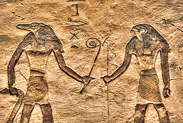 Gods Sobek on left and Horus on right, Tomb of Ramses III, KV11, Valley of the Kings, UNESCO World Heritage Site, Luxor, Thebes, Egypt, North Africa, Africa