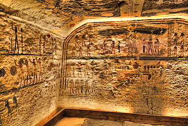 Frescoes, Burial Chamber, Tomb of Ramses IX, KV6, Valley of the Kings, UNESCO World Heritage Site, Luxor, Thebes, Egypt, North Africa, Africa