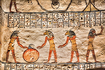 Reliefs, Tomb of Ramses V and VI, KV9, Valley of the Kings, UNESCO World Heritage Site, Luxor, Thebes, Egypt, North Africa, Africa