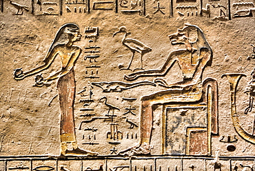 Relief, Goddess Sekhmet on right, Tomb of Ramses V and VI, KV9, Valley of the Kings, UNESCO World Heritage Site, Luxor, Thebes, Egypt, North Africa, Africa