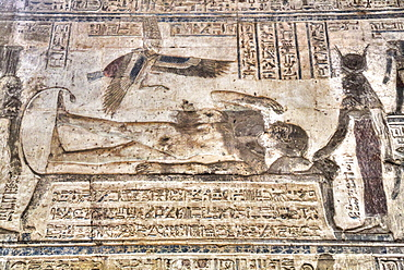 Mural, Osiris Awakening, Temple of Osiris and Opet, Karnak Temple Complex, UNESCO World Heritage Site, Luxor, Thebes, Egypt, North Africa, Africa