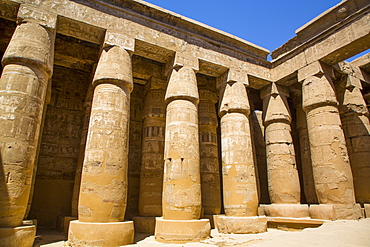 Columns, Temple of Khonsu, Karnak Temple Complex, UNESCO World Heritage Site, Luxor, Thebes, Egypt, North Africa, Africa