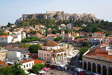 Monastiraki Square (foreground), The Acropolis (background), Athens, Greece