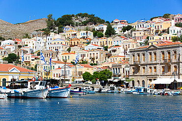 Gialos Harbor, Symi (Simi) Island, Dodecanese Island Group, Greek Islands, Greece, Europe