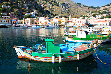 Fishing boat, Gialos Harbor, Symi (Simi) Island, Dodecanese Island Group, Greek Islands, Greece, Europe