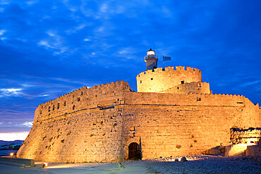 Evening, St. Nicholas Fort, Rhodes, Dodecanese Island Group, Greek Islands, Greece, Europe