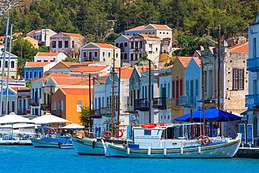 Boats in Harbor, Kastellorizo (Megisti) Island, Dodecanese Group, Greek Islands, Greece, Europe
