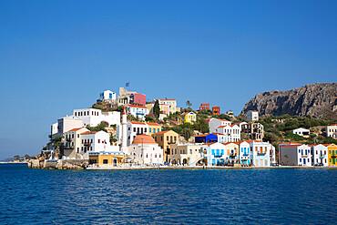 Buildings at Harbour Entrance, Kastellorizo (Megisti) Island, Dodecanese Group, Greek Islands, Greece, Europe