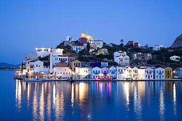 Evening, buildings at Harbour Entrance, Kastellorizo (Megisti) Island, Dodecanese Group, Greek Islands, Greece, Europe