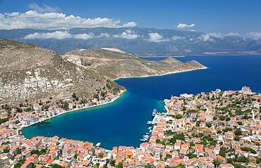 Kastellorizo Harbour, from Cliff Steps, Kastellorizo (Megisti) Island, Dodecanese Group, Greek Islands, Greece, Europe