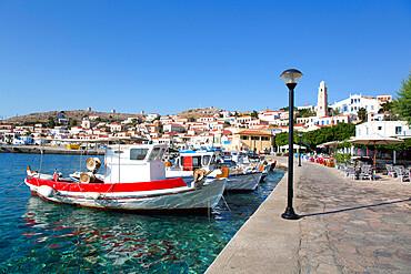 Fishing Boats, Emborio Harbor, Halki (Chalki) Island, Dodecanese Group, Greece