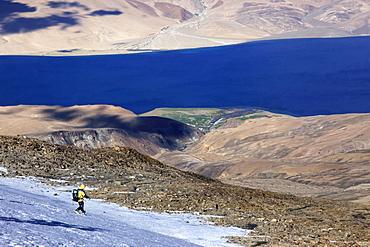 Descending from the summit of Mentok II, 6200m, above Tso Mori Lake Ladakh, India, Asia