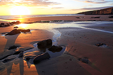 A beach at low tide near Ogmore, Vale of Glamorgan, South Wales, United Kingdom, Europe