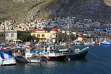 The harbour of Pothia, Kalymnos, Dodecanese, Greek Islands, Greece, Europe