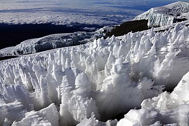 Ice formations on the summit plateau of Uhuru peak, Africa's highest point, Kilimanjaro, UNESCO World Heritage Site, Tanzania, East Africa, Africa