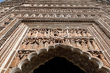 Pratapeshwar terracotta Hindu Temple, built in the 19th century, ornately carved with beautiful imagery, Kalna, West Bengal, India, Asia