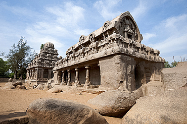 Part of the Pancha Rathas monument complex, dating from the 7th century, Mahaballipuram, UNESCO World Heritage Site, Tamil Nadu, India, Asia