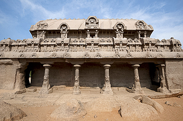 The Bhima Ratha, part of the Pancha Rathas monument complex, dating from the 7th century, Mahaballipuram, UNESCO World Heritage Site, Tamil Nadu, India, Asia