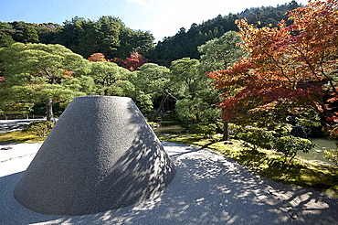 Sand cone called Moon Viewing Platform in the sand garden area of Ginkakuji (Silver Pavilion) Zen temple garden, Kyoto, Japan, Asia