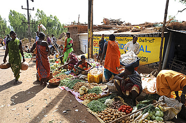 Mali tribespeople shopping in the early morning at the weekly tribal market, Koraput, Odisha, India, Asia