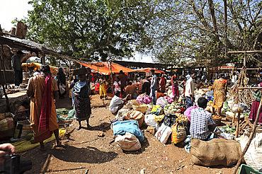 Busy weekly tribal market of the Mali tribespeople in Koraput, Odisha, India, Asia