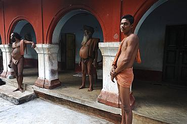 Monks at Joranda Gadhi, a temple complex devoted to the Supreme Lord for followers of Mahima dharma, Dhenkanal, Odisha, India, Asia