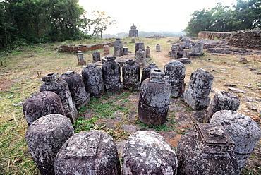 Buddhist stone stupas found on the Ratnagiri archaeological site of the ancient Buddhist area of Odisha, India, Asia