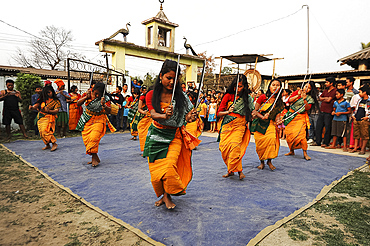 Assamese village women in Assam state dress, performing knife dance in front of villagers, Sualkuchi district, Assam, India, Asia