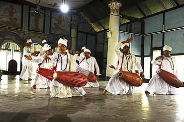 Bhokots (monks), performing the Sattriya Nritya, monastery dance of prayer, Majuli Island, Assam, India, Asia