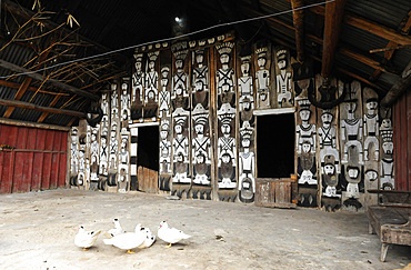 Naga chief's house, heavily decorated with tribal headhunting images, Nagaland, India, Asia