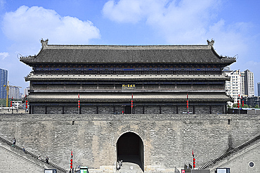 Old stone Pagoda above Anyuan, the north gate, of the 600 year old city wall, Xian, Shaanxi, China, Asia
