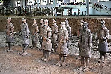 Terracotta Army, funerary sculptures buried in 210-209 BC, now separated for repair, Xian, Shaanxi, China, Asia