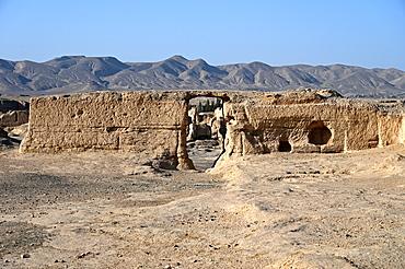 Ruins of Jiaohe Silk Road city, capital of Jushi kingdom 450-640 AD, Xinjiang Uyghur Autonomous Region, China, Asia