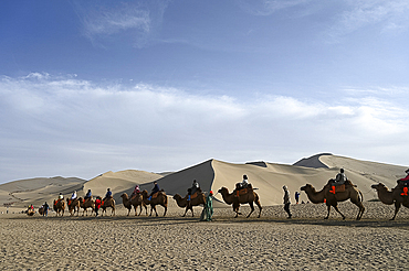 Tourists on camels being led through the Singing Sand Dunes in Dunhuang, Northwest Gansu province, China, Asia