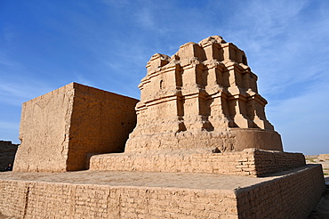 Building in the ruined ancient Silk Road oasis city of Gaochang, Taklamakan desert, Xinjiang, China, Asia