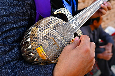 Rawap, the traditional decorated Uyghur lute covered in snakeskin, Gaochang, Xinjiang, China, Asia